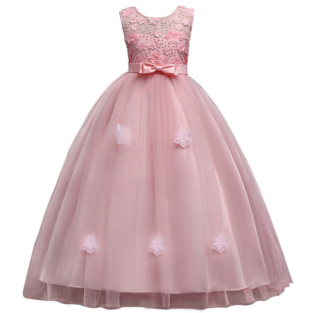 bc3966892 Long Style Lace Formal Evening Wedding Gown Tutu Princess Dress ...