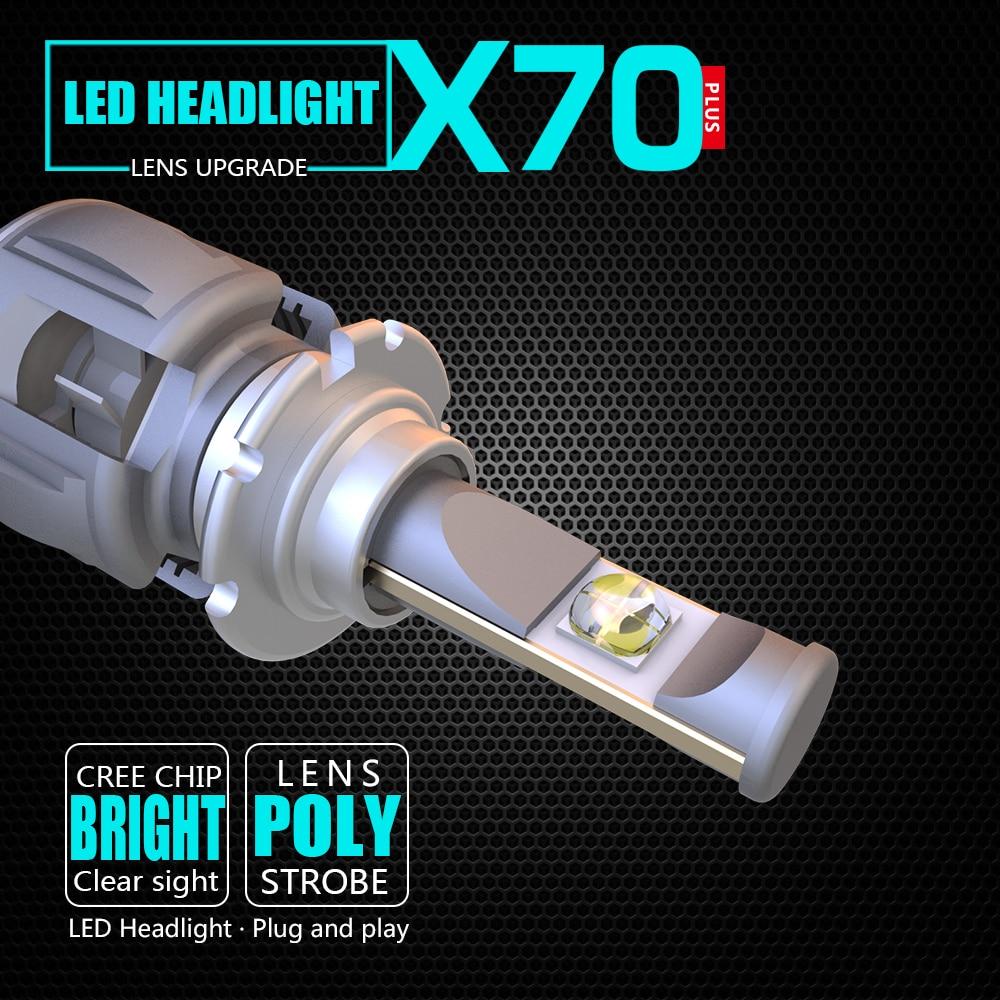 XP70 CR-EE Chips H1 H4 H7 H11 H13 9004 9005 9006 9012 5202 D4C Car LED Headlight Bulbs Hi-Lo Beam 50W 8000LM 6000K 24V 1pair dc9 36v h1 cob 160w 8000lm led headlight kit lights beam bulbs 6000k external lights
