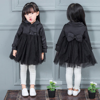 Children's clothing 2016 autumn girls child solid color trench child fashion trench outerwear girls coat