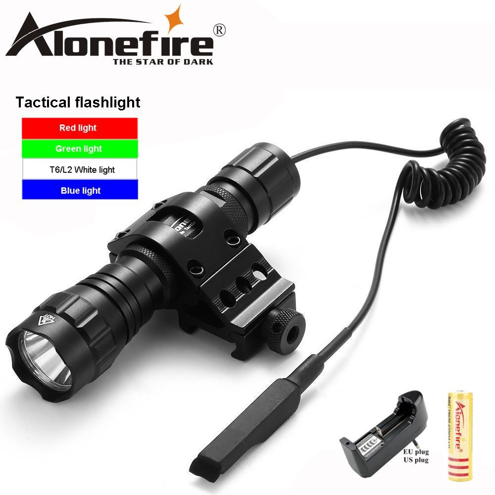 AloneFire 501Bs Tactical 501B Green LED Flashlight Hunting Torch Gun Mount Rail Picatinny Lamp Pressure Switch 18650 Battery