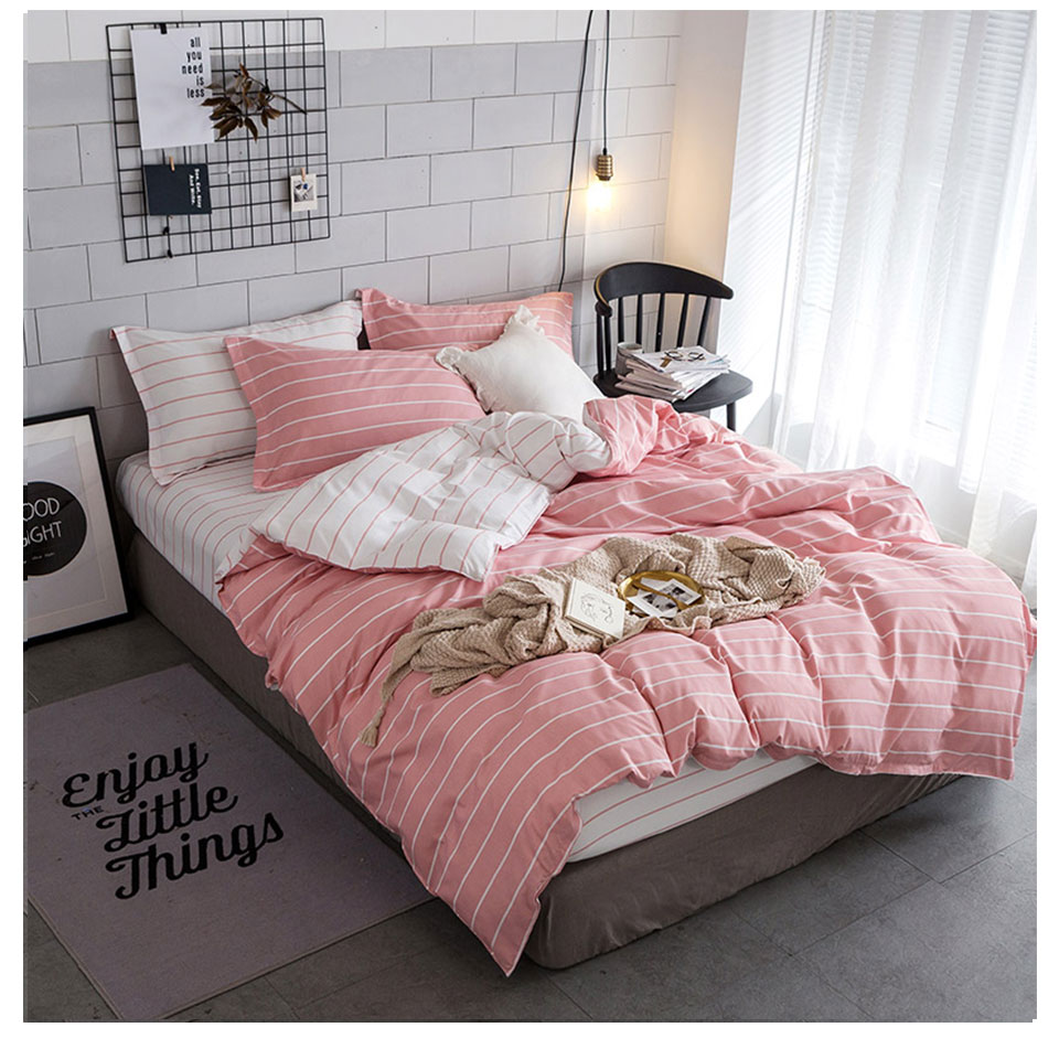 Pink Duvet Cover Niobomo Pink And White Bedding Set Simple Stripes Duvet Cover Set Twin Full Queen King Size Active Printing 4pcs Bedclothes