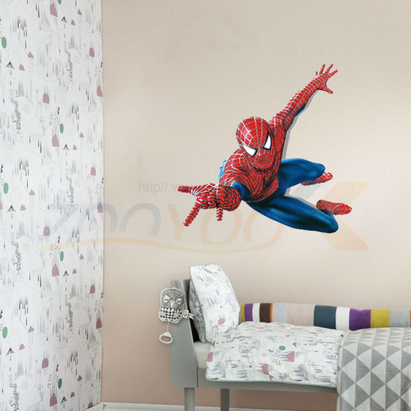 Superman Spiderman Giant Wall Stickers Adhesive For Children Room Wall 3D  Sticker Spider Man Decoration Decals Kidsu0027 Room Decor In Wall Stickers From  Home ...