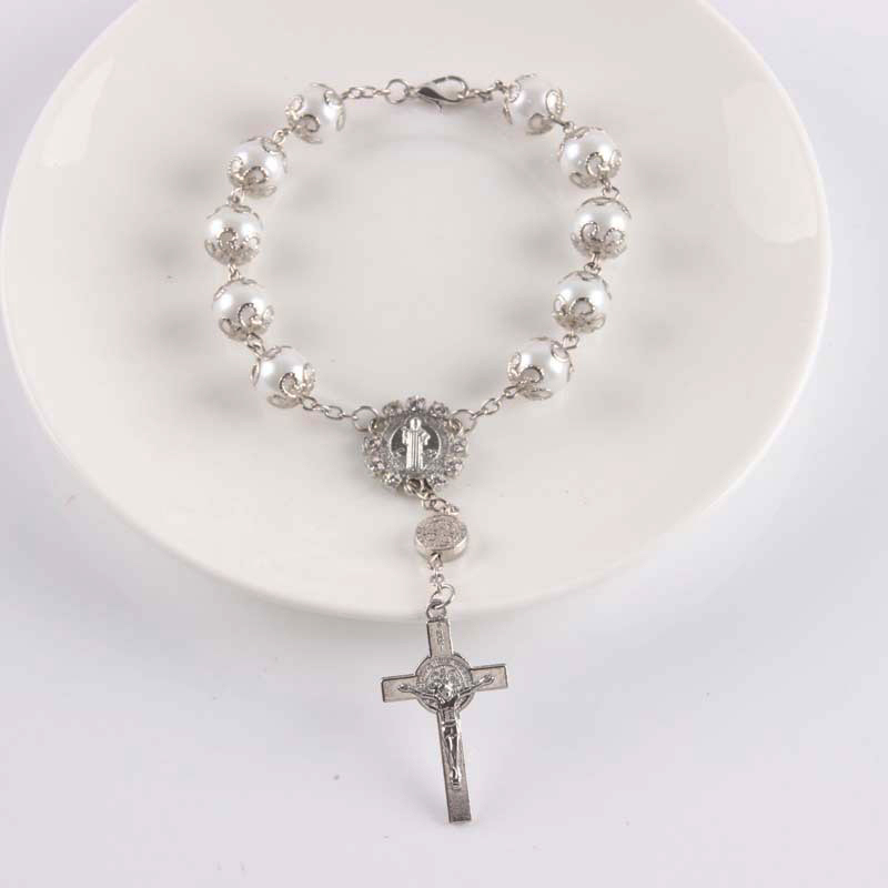 Cross Bracelet Gold Silver Beads San Benito