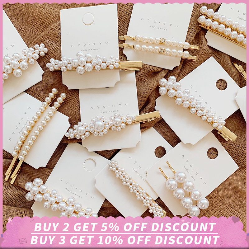 Fashion Pearl Hair Clip for Girls Barrette Hairpins Wedding Hair Styling Tool Hairpin Stick Metal Hair Clips for Women Trendy