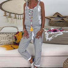 Women Striped Jumpsuit Overalls Sleeveless Loose Casual Baggy Bib Pants Rompers