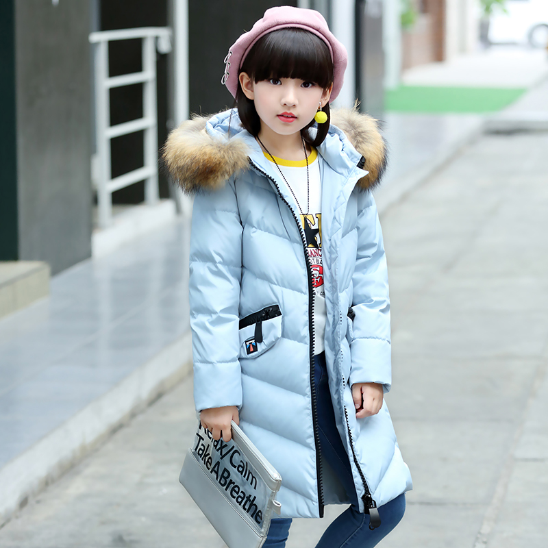 Children Girls Long Duck Down Jacket Coat Fashion Raccoon Fur Collar Winter Outerwear Hooded Thick High Quality For 8- 9 10 12T стоимость