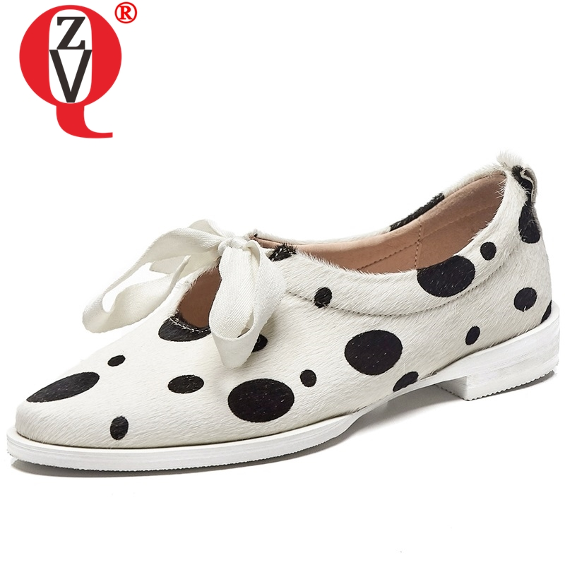 ZVQ Polka Dot genuine leather woman flats with Loafers shoes horsehair fur summer women butterfly knot