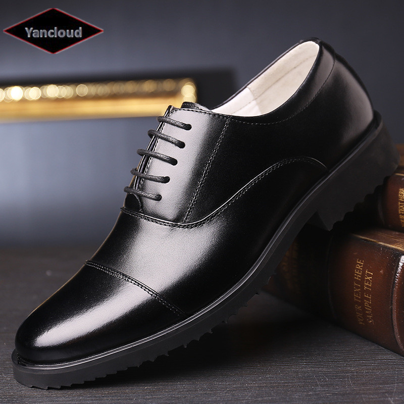 2018 Men's Genuine Leather Shoes Breathable Lace Up three joints Black Dress shoes Height increase Military Shoe Plus size 44 46