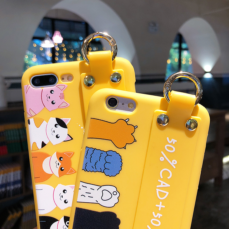 Yellow Cat Claw Case Cover for iPhone XS MAX XR XS X Soft TPU Phone Bag Case for iPhone 7 8 plus 6 6s 6 plus Case with Holder in Fitted Cases from Cellphones Telecommunications