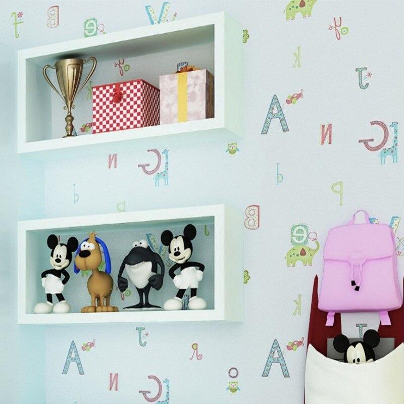 Livraison gratuite environnement non-tissés enfants chambre papier peint dessin animé Alphabet papier peint fond d'écran