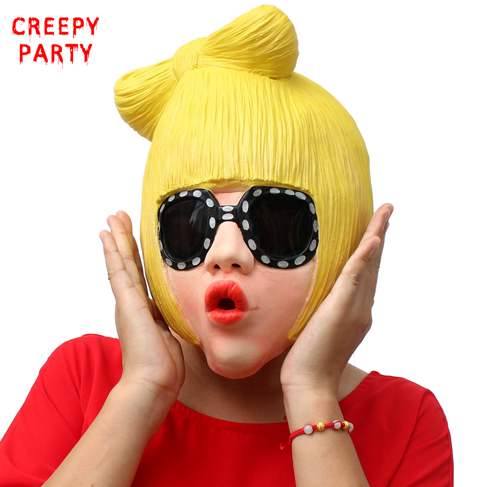 Realistic Rock Star Mask Lady GaGa Full Face Latex Mask Novelty Adults Halloween Cosplay Fancy Dress Party Masquerade Mask