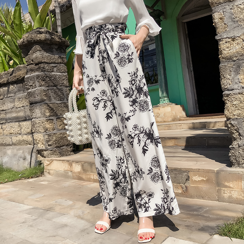 Pottis2018 new holiday large size bohemia wide leg pants beach travel high help printing trousers