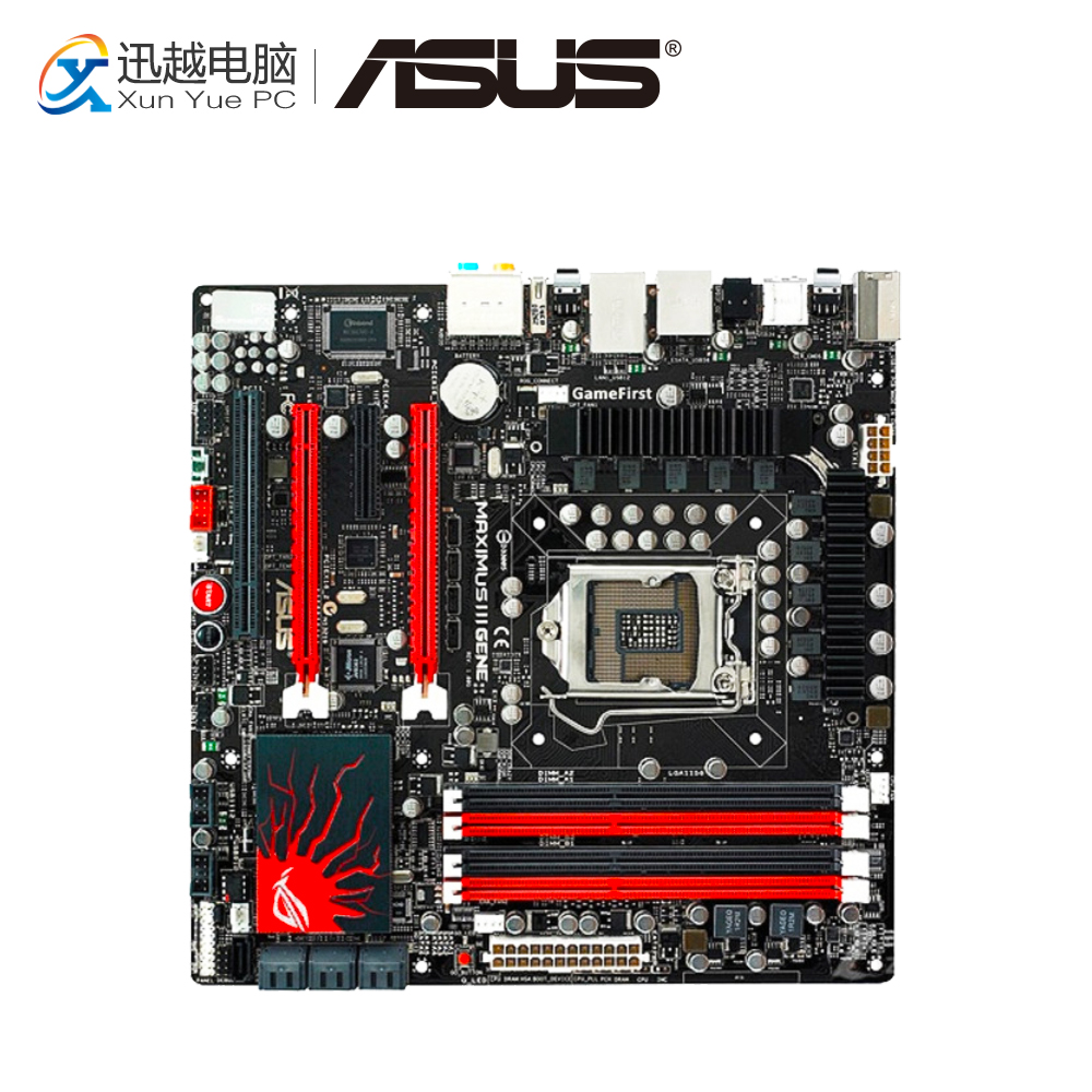 Asus Maximus III Gene Desktop Motherboard M3G P55 Socket LGA 1156 i3 i5 i7 DDR3 16G uATX for asus maximus iii gene original used desktop motherboard m3g for intel p55 socket lga 1156 for i3 i5 i7 ddr3 16g uatx