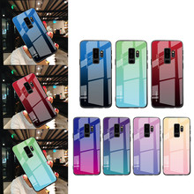 Tempered Glass Case For Samsung Galaxy A8 A6 Plus A7 A750 2018 Back Cover Capa Coque For S9 S8 Plus Note 8 9 J4 J6 J8 Plus 2018(China)