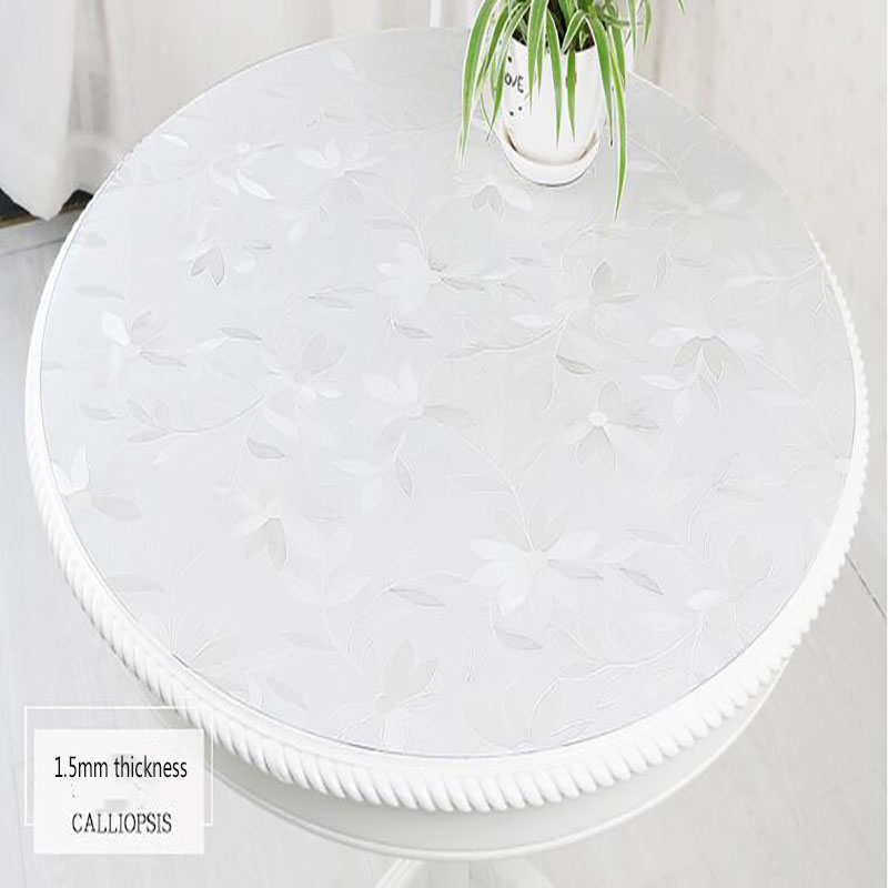 2mm Plus Épais Étanche Ronde pvc Nappe Souple GlassTransparent En Plastique Table Tapis Table Basse En Cristal Pad