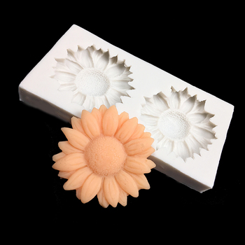 minsunbak 3D Sunflower Silicone Cake Border Decoration  handmade soap silicone mold  DIY polymer clay crafts Food grade silicon soap flower modelling silicon soap mold fondant cake decoration mold sleep baby soap mold 100% food grade raw material