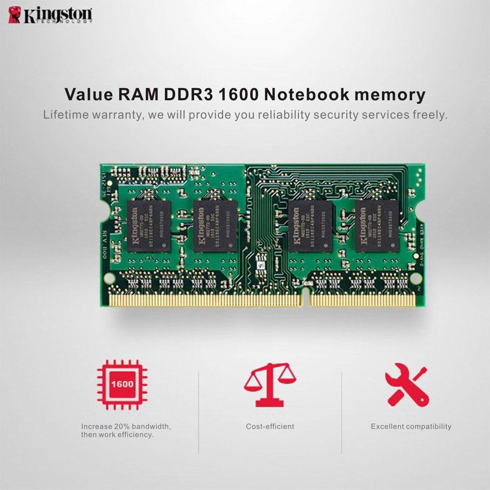 Original Kingston 4GB 8GB KVR Notebook RAM 1600MHz 4G 1.35V Non ECC DDR3 PC3L-12800 CL11 204 Pin SODIMM Motherboard Memory