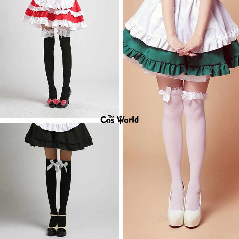 24125fc7ead Detail Feedback Questions about Lolita Bowknot Lace Over The Knee Long  Stocking Socks Thighhighs For Maid Dress Cosplay Costumes on Aliexpress.com