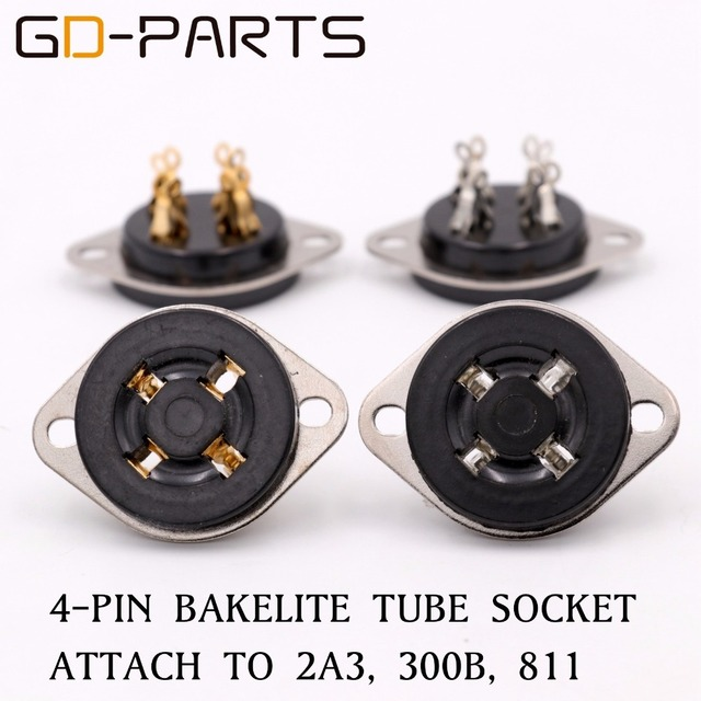 US $11 5  GD PARTS 4pin UX4 base bakelite vacuum tube socket for 300B 2A3  811 45 71A CHASSIS Mount vintage amplifier DIY-in Amplifier from Consumer