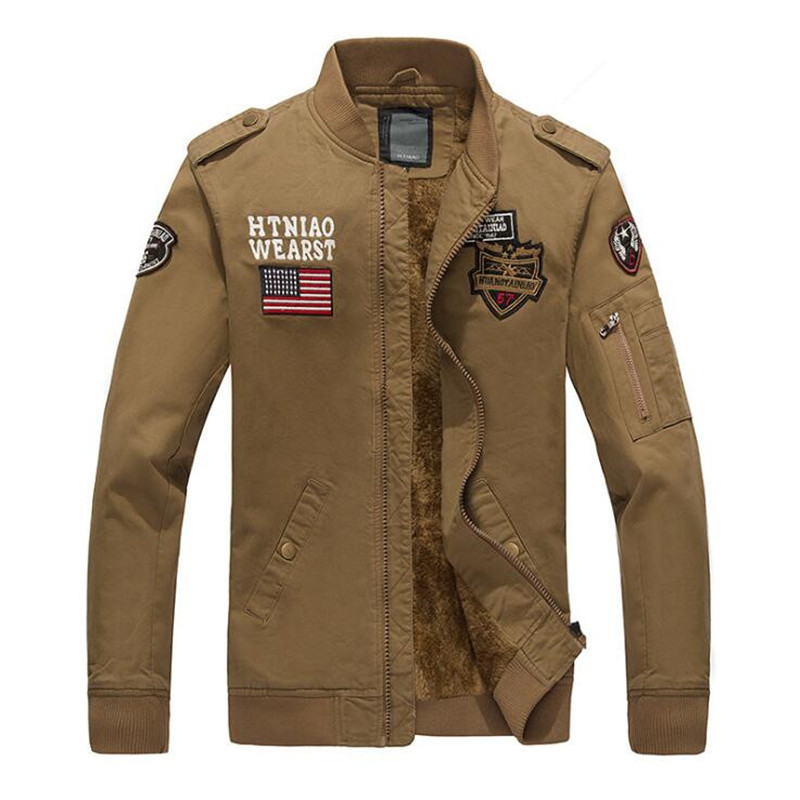 ABOORUN 2017 Mens US Bomber Jackets Military Men Cotton Jackets for Spring P6069