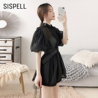 SISPELL Chiffon Embroidered Womens Tops And Blouses Lapel Collar Half Sleeve Sashes Slim Shirt Female Fashion New 2019 Summer