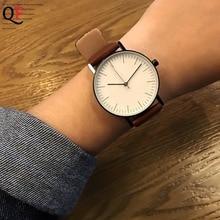 QF Creative Simple Design Minimalist Style Ladies Women Quartz Watch Fashion Casual Wearing Men Wrist Watch Male Female Clock