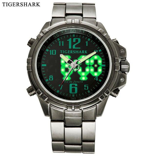 7589ca26be6 Men Sports Watches Fashion LED Digital Watches TIGERSHARK Brand Alloy  Quartz Wristwatches 30M waterproof Relogios Masculino
