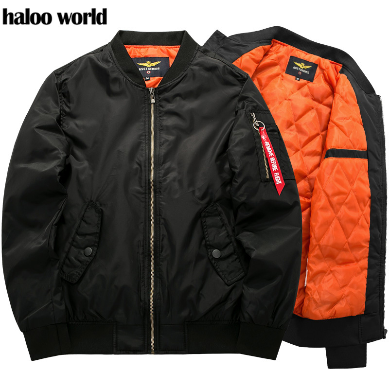 Haloo World 2019 New Brand Mens Casual Jacket Large Size Men Pilot Bomber Jacket Male Plus Size S 7XL 8XL Overcoat