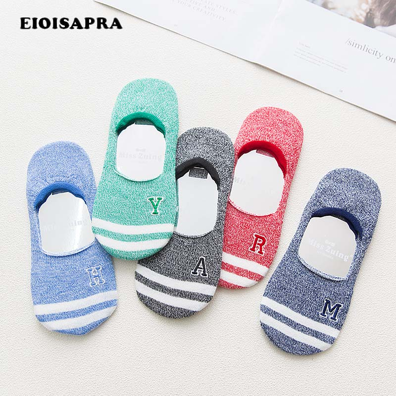 [EIOISAPRA]Spring/Summer New Product Striped Word Embroidery Socks Women Candy Color Antiskid Breathable Comfort Women Ship Sock
