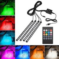 4pcs Car RGB LED Strip Music Light Strip Car Interior Decorative Atmosphere Lamps Strip With Remote