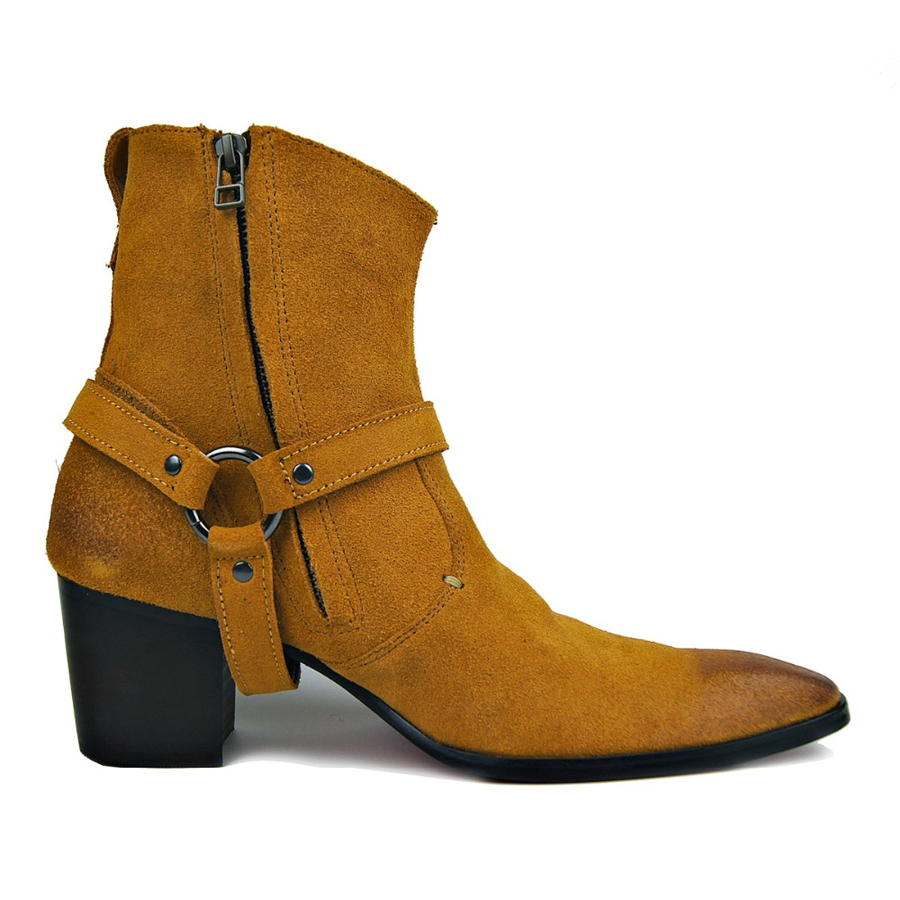 OTTO Handarbeit Aus Echtem Leder High Top High Heel Stiefel Marke Schuhe Boot Klassische Rote Untere Schuhe Kuh Leder Männer Designer schuhe-in Motorradstiefel aus Schuhe bei  Gruppe 3