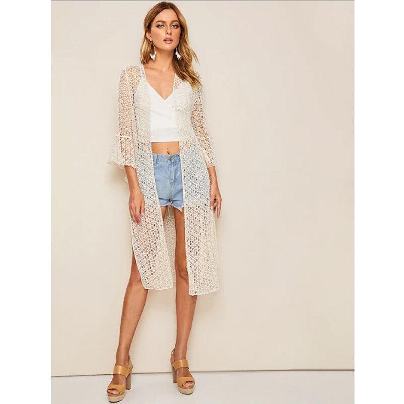 New Summer Lace Hollow Crochet Beach Bikini Cover Up Split 3/4 Sleeve Women Tops Swimwear Beach Dress White Tunic Beach Shirt(China)