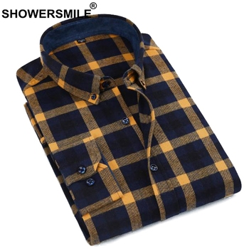 SHOWERSMILE Yellow Plaid Shirt Men Cotton Red Checkered Shirt Male Slim Fit Casual Long Sleeve Shirt Autumn Winter Clothing New Рубашка
