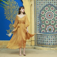 LYNETTE S CHINOISERIE Spring Autumn Original Design Women Golden Stripe Lantern Sleeve Loose Dresses
