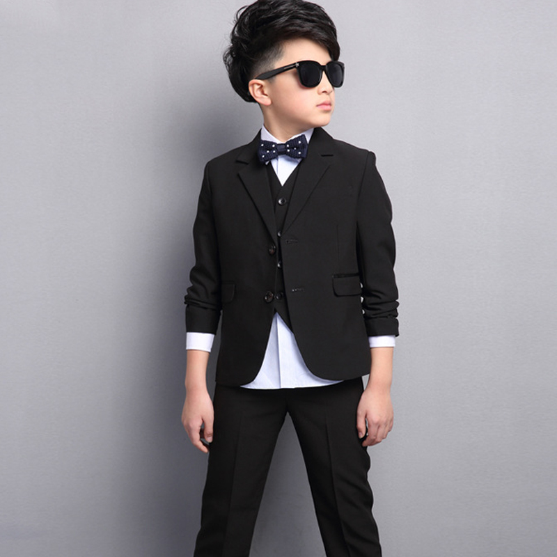 Boys Black Prom Suits Children 4PCS Wedding Tuxedo for Party Graduation Formal Terno 4-15 Years Kids Clothes