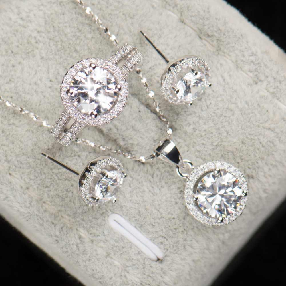 90% off Hochzeit Schmuck-Sets für Bräute 925 Sterling Silber AAAAA Ebene CZ Stud Ohrringe Ring Halskette Braut Schmuck Set