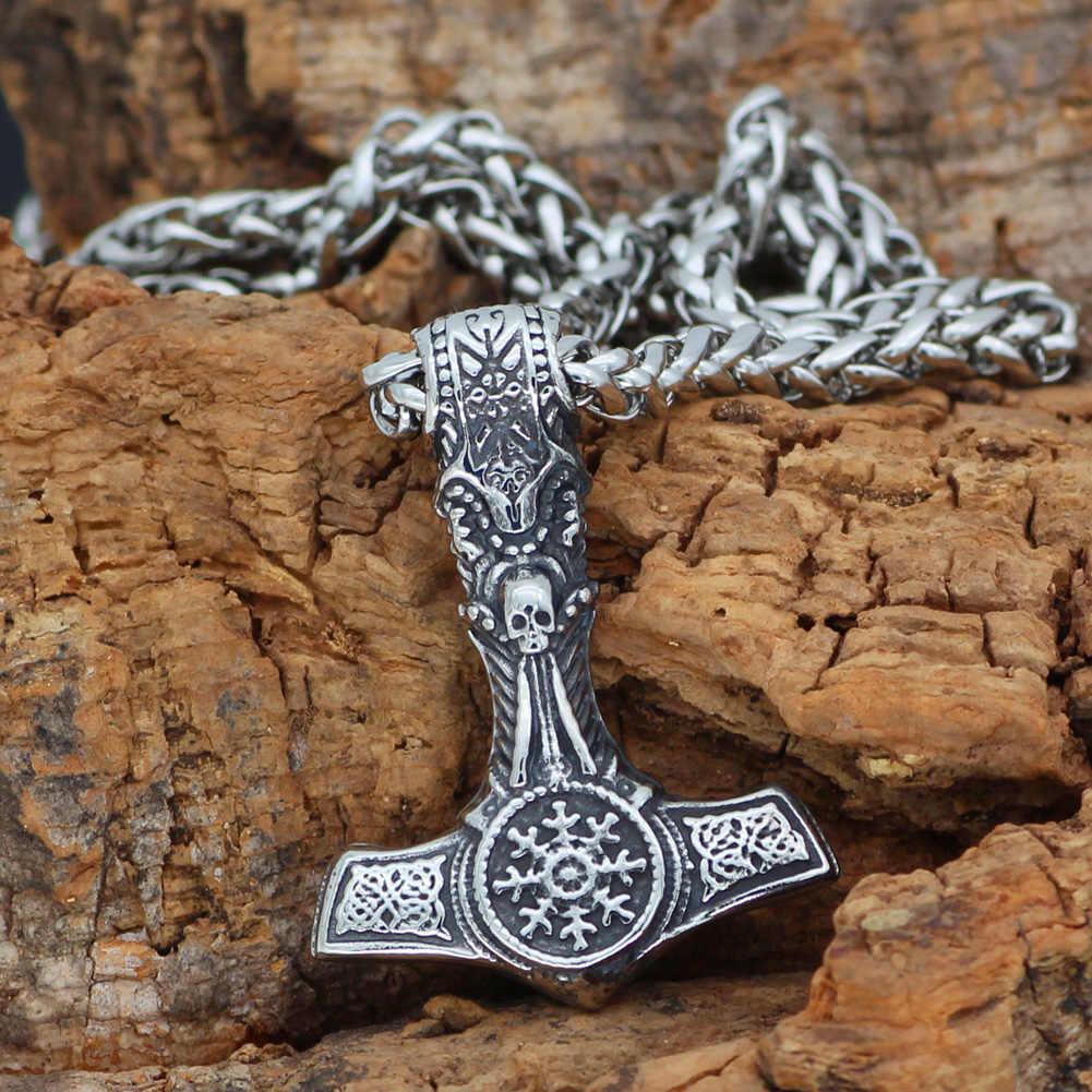 Nórdico Viking Mjolnir Thor Martelo de Aço Inoxidável Crânio Colar Leme de Admiração Para Os Homens Com Saco Do Presente Valknut