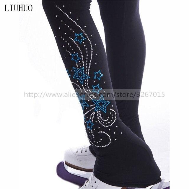 Колготки для фигурного катания, женские штаны/брюки для катания на коньках, спортивный костюм, черные эластичные колготки для выступлений с узором в виде пентаграммы