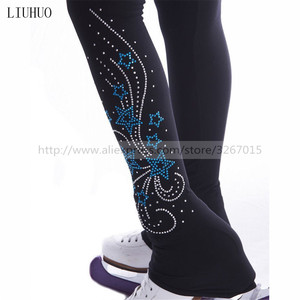 Image 1 - Figure Skating Footed Tights Womens Girls Ice Skating Pants / Trousers Tracksuit Black Stretchy Performance Pentagram pattern
