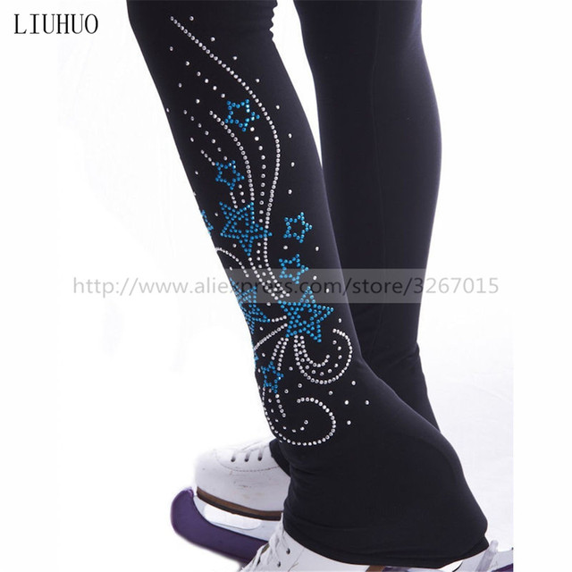Figure Skating Footed Tights Women's Girls' Ice Skating Pants / Trousers Tracksuit Black Stretchy Performance Pentagram pattern