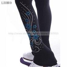 Medias con zona para el pie para patinaje artístico pantalones/pantalones de patinaje sobre hielo para mujeres y niñas, chándal negro elástico, patrón de pentagrama
