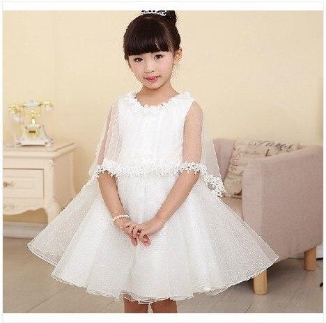 ФОТО New Arrival 2014 Summer Dress Kids Girl Princess Dress Flower Girl White Wedding Dress Children Girl Party Performance Dress