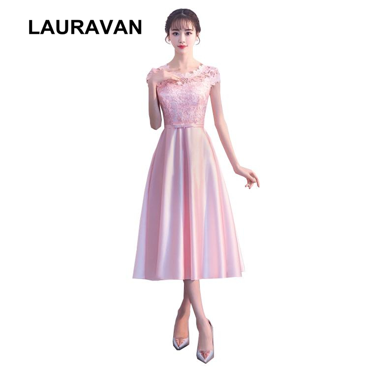 teen lace up back new sexy elegant girls robe   bridesmaid     dress   2018 pink formal short tea length gowns for a wedding party