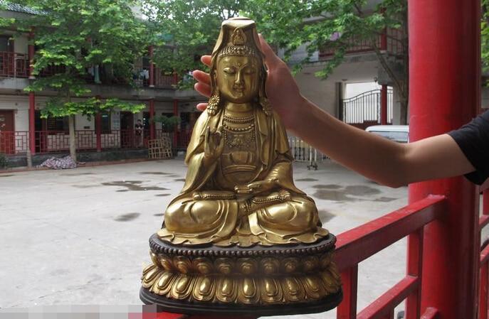 wholesale factory 16Chinese Buddhism Classic Bronze Guan yin Bodhisattva Kwan-Yin Buddha Statuewholesale factory 16Chinese Buddhism Classic Bronze Guan yin Bodhisattva Kwan-Yin Buddha Statue