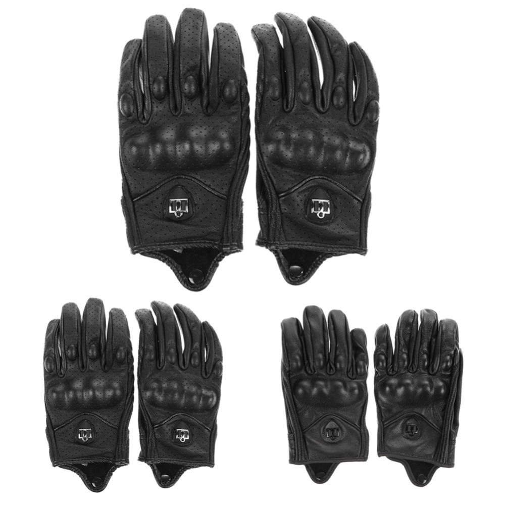 Mens black leather gloves xl - Men Motorcycle Gloves Leather Outdoor Sport Full Finger Motorcycle Riding Protective Armor Black Short Leather Warm