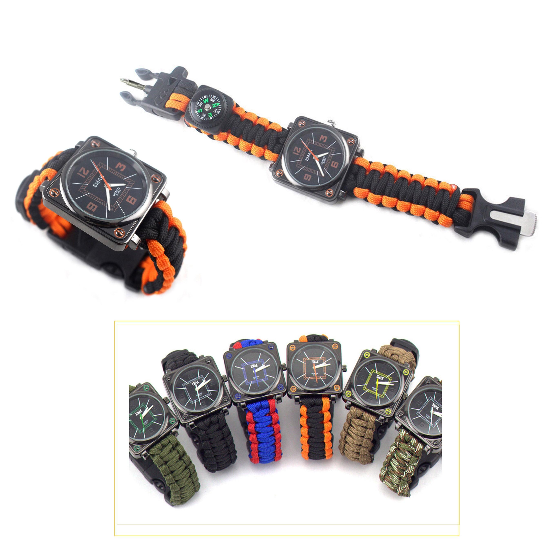 무료 배송! watch.whistle.compass 야외 다기능 생존 도구와 다기능 하이킹 야외 생존 paracord