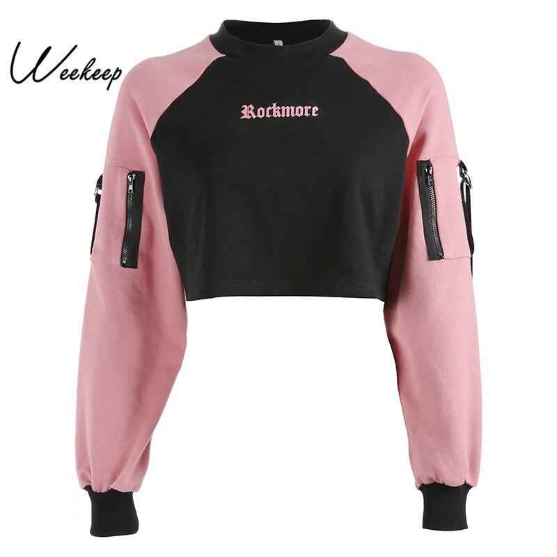 Weekeep Pullover Hoodie Sweatshirt Black Letter Streetwear Long-Sleeve Knitted Patchwork
