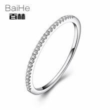 BAIHE Solid 10k White Gold 0.1CT Certified Round 100% Natural Diamonds Women Anniversary Women Classic Fine Jewelry unique Ring