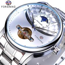 Forsining Men Watch Automatic Mechanical Tourbillon Sun Moon Clock White Business Stainless Steel Band Wristwatch Relojes Hombre