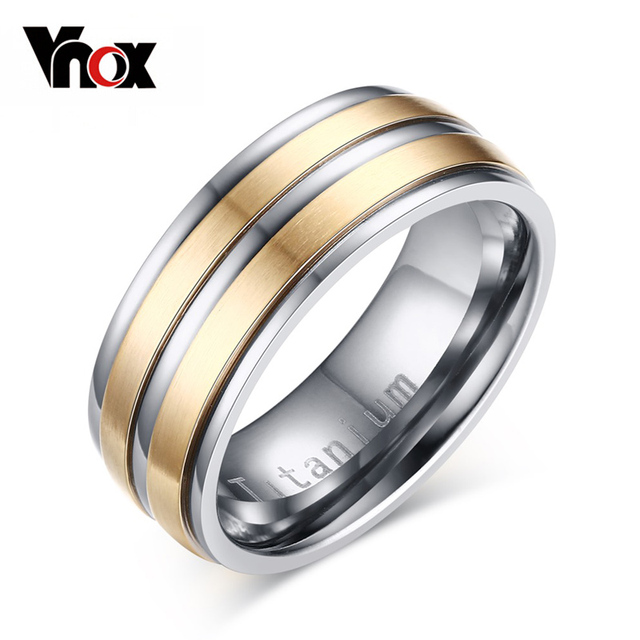 Vnox Titanium Carbide Mens Ring Wedding Rings 8mm USA Size Engraved